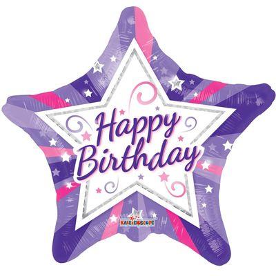 Happy Birthday Star Foil Balloon