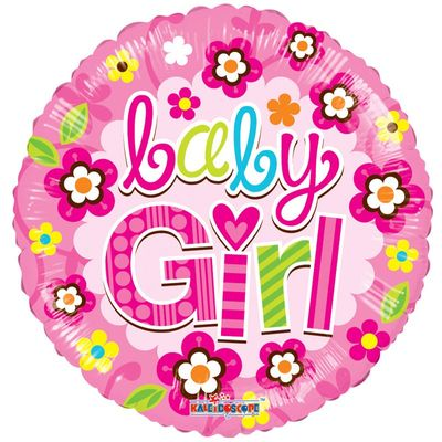 Baby Girl Floral Foil Balloon