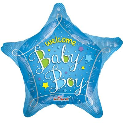 Welcome Baby Boy Star Foil Balloon