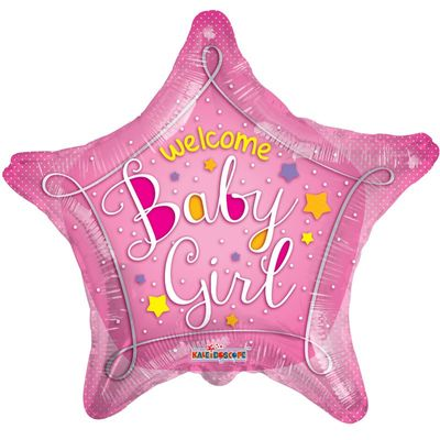Welcome Baby Girl Pink Star Foil Balloon