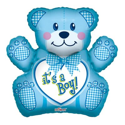 Baby Boy Bear Shaped Foil Balloon