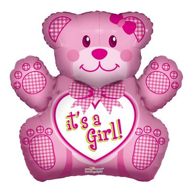 Baby Girl Bear Shape Foil Balloon