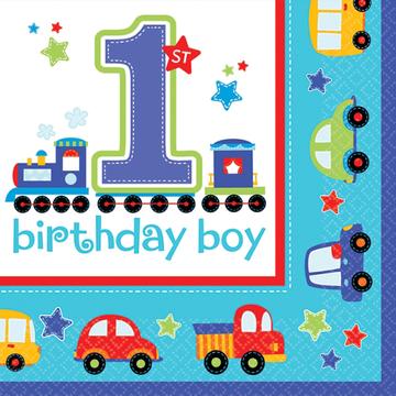 All Aboard 1st Birthday Boy Napkin