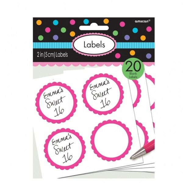 Hot Pink  Scalloped Candy Labels