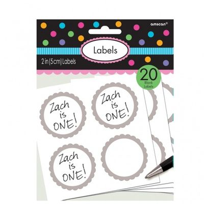 Silver Scalloped Candy Labels