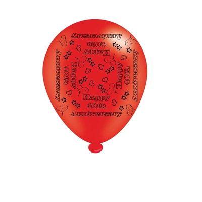 40th Ruby Anniversary Latex Balloons x8