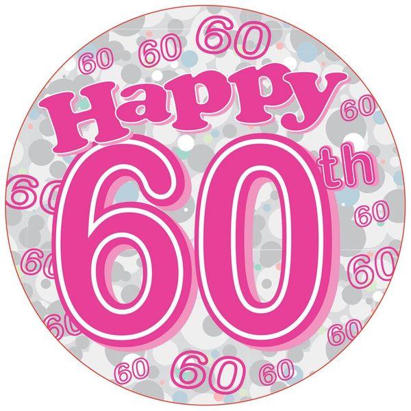 Blue Happy 60th Birthday Jumbo Badge