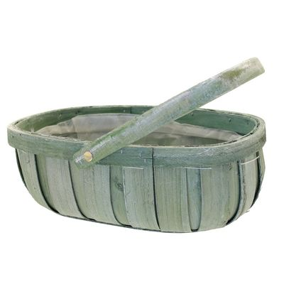 Green Softwood Trug With Folding Handle
