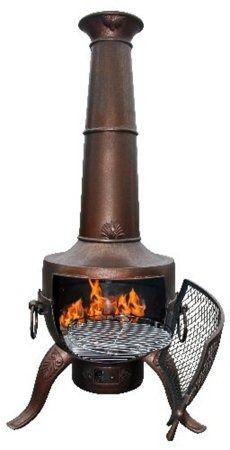 Gardeco Tia Steel & Cast Iron Chimenea - Bronze