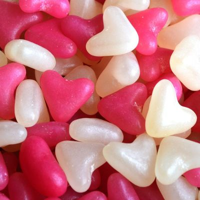 Pink and White Heart Jellibeans