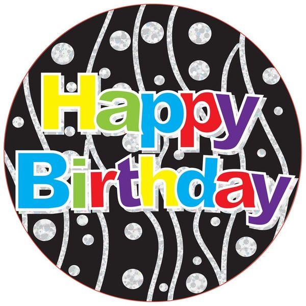 Jumbo Polka Dots and Stripes Birthday Party Badge