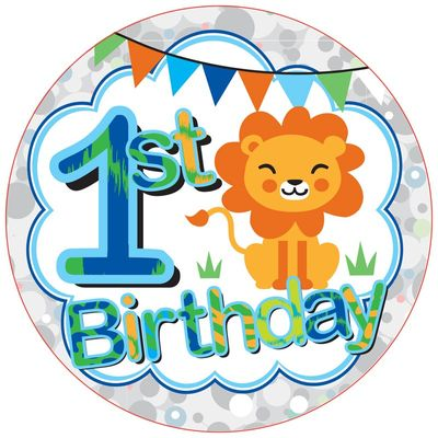 Jumbo Age 1 Jungle Birthday Badge