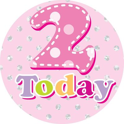 Jumbo Age 2 Polka Dots Birthday Badge