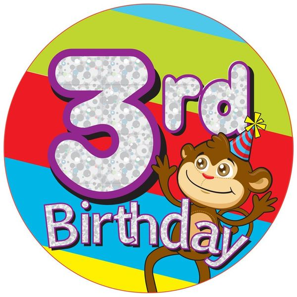 Jumbo Age 3 Monkey Birthday Badge