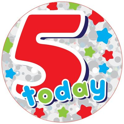 Jumbo Orange 5 Today Birthday Badge