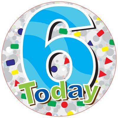 Jumbo Blue 6 Today Birthday Badge