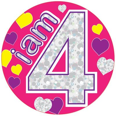 Jumbo I am 4 Hearts Birthday Badge
