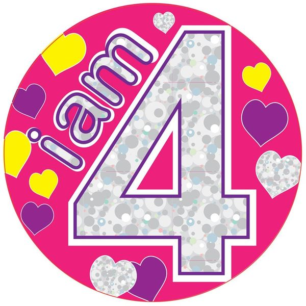 Jumbo I am 4 Hearts Birthday Badge