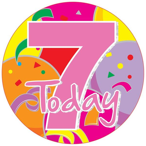 Jumbo Pink 7 Today Birthday Badge