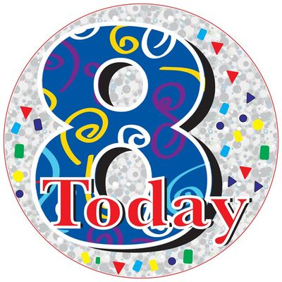 Jumbo Blue 8 Today Birthday Badge