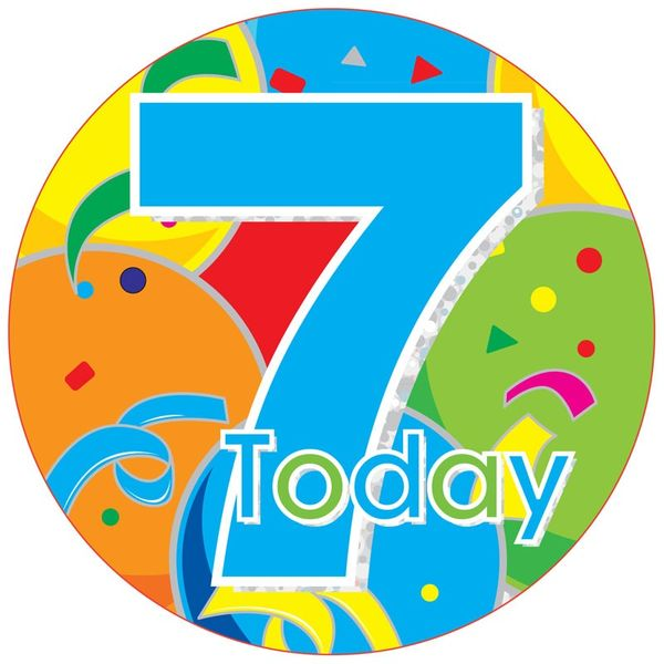 Jumbo Blue 7 Today Birthday Badge