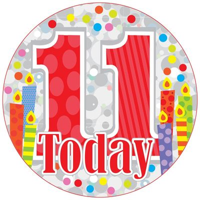Jumbo 11 Today Unisex Birthday Badge