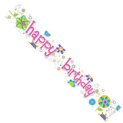 Happy Birthday Flower Banner