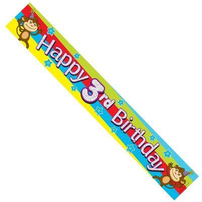 Happy 3rd Birthday Monkey Banner