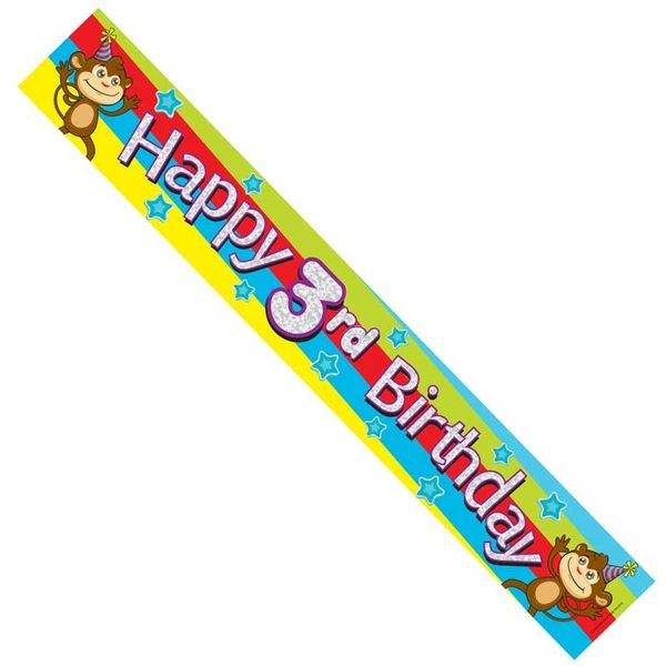Happy 3rd Birthday Monkey Banner