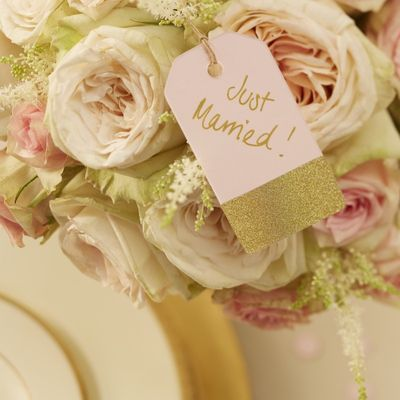 pink and gold favour tags
