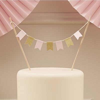 Pink and Gold Cake Bunting