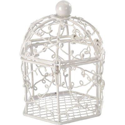 White Mini Birdcage Favour