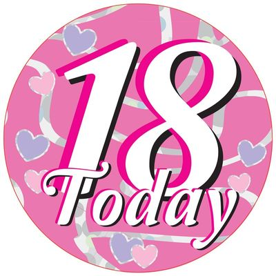 18 Today Hearts Jumbo Badge