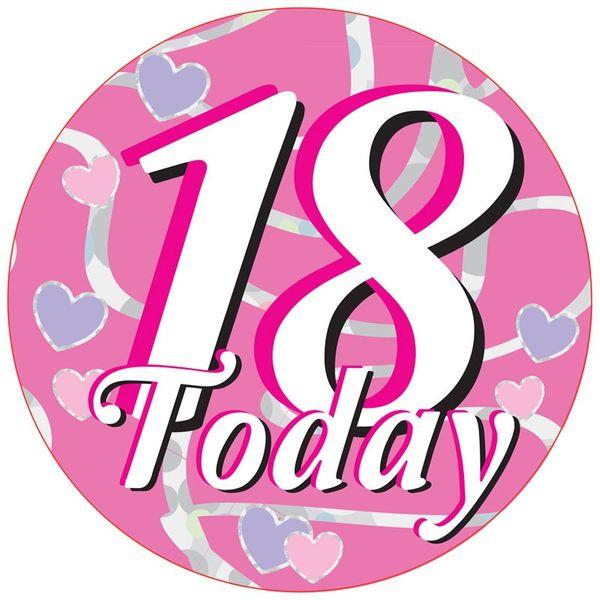 18 Today Hearts Jumbo Badge