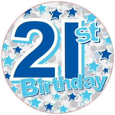 21st Blue Starts Birthday Bagde