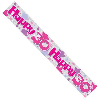 30th Pink Stars Birthday Banner
