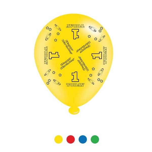 Age 1 Unisex Birthday Latex Balloons x6