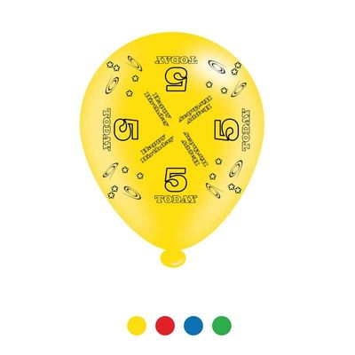Age 5 Unisex Birthday Latex Balloons x8