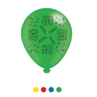 Age 10 Unisex Birthday Latex Balloons x8
