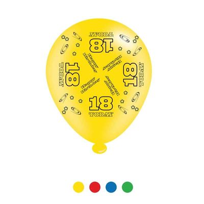 Age 18 Unisex Birthday Latex Balloons x8