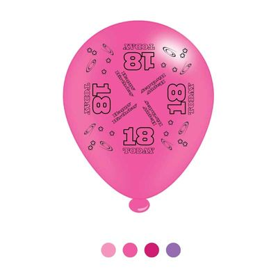 Age 18 Pink Birthday Latex Balloons x8