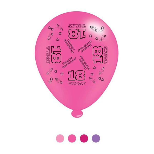 Age 18 Pink Birthday Latex Balloons x8