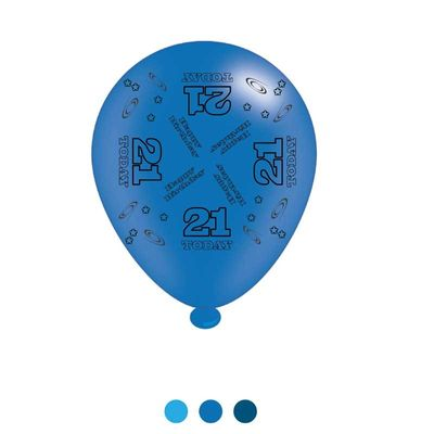 Age 21 Blue Birthday Latex Balloons x8