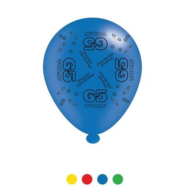 Age 65 Unisex Birthday Latex Balloons x8