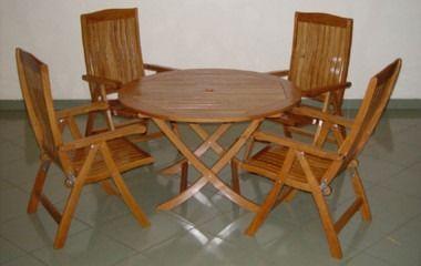 Greatgardensonline Solid Oak Round Garden Table And 4 Reclining Garden Chairs Ggofurn17 Garden Mall