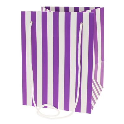 Purple Candy Stripe Hand Tie Bag