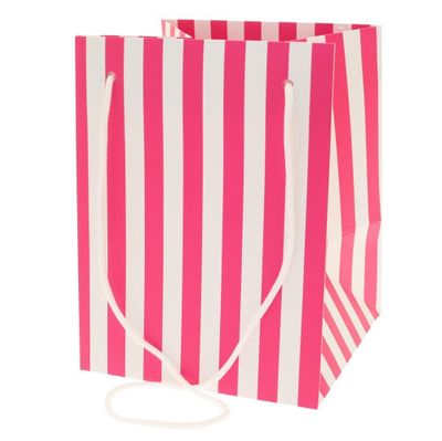 Hot Pink Candy stripe Hand Tie Bag