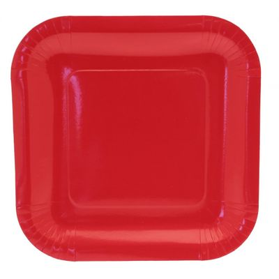 9 Inch Red Square Paper Plates