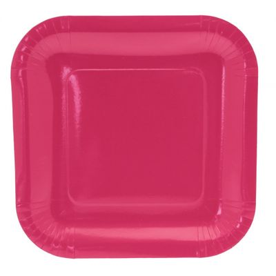 9 Inch Square Hot Pink Party Plates