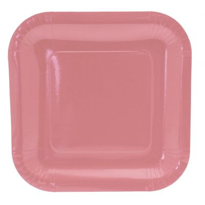 9 Inch Pale Pink Square Paper Plates (8pk)